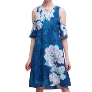 Anthro Maeve Elia Cold Shoulder Floral Dress 12